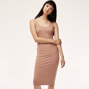 Aritzia Wilfred Free Murdock Ribbed Dress in Nude